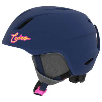 Giro Launch Kinder Skihelm - Matte Midnight/Neon Lights