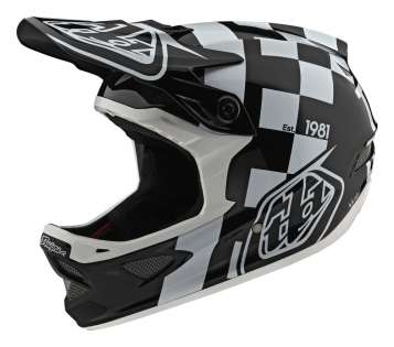 Troy Lee Designs D3 Fiberlite Velohelm - Raceshop White / Black