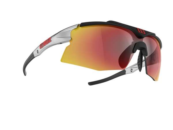 Image of Bliz Tempo Small Face Sportbrille - Shiny Silver / Black - Red Multi + Yellow - Cat.3 + Cat.1