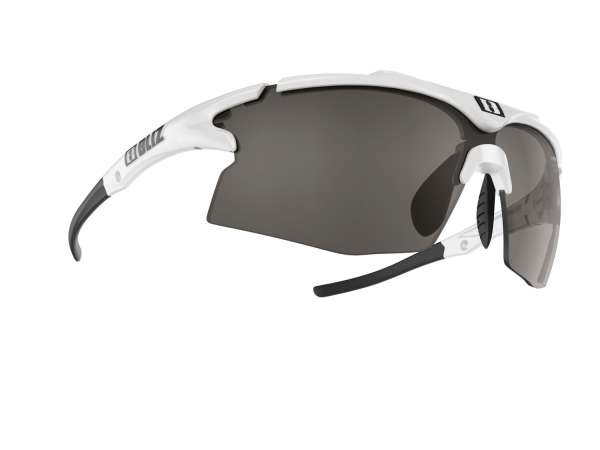 Image of Bliz Tempo Small Face Sportbrille - White - Smoke w Silver Mirror + Orange - Cat.3 + Cat.2