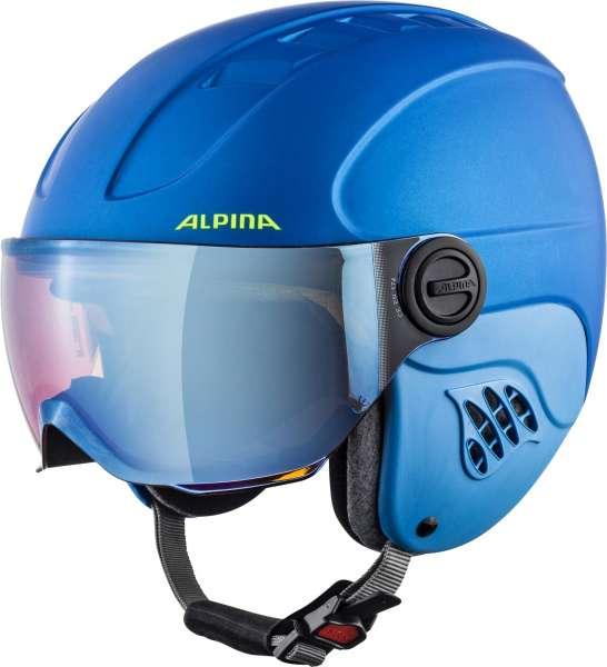 Image of Alpina CARAT LE VISOR HM Skihelm - blue-neon-yellow mat